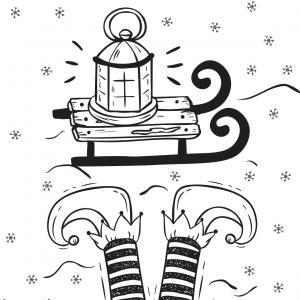 Carte cadeau à colorier : Le lutin et le traineau. Une carte à imprimer et à colorier. vous pourrez ainsi y écrire une joli petit mot afin de l'offrir à Noël.