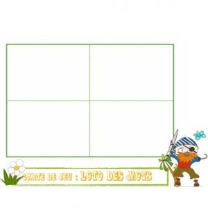 Une jolie carte de jeu décorée d'un pirate ! Définissez les règles du jeu avec cette planche en choisissant les 4 lettres.