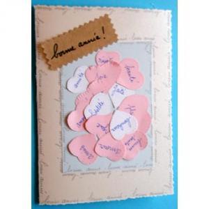 Carte décorée de coeurs roses et blancs. Pour les anniversaire, la saint valentin, la fÍte des mères ou des pères