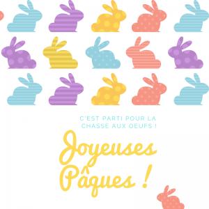 Carte Joyeuses Pâques avec des lapins à imprimer gratuitement pour l'envoyer à la famille et aux amis afin de leur souhaiter de passer de joyeuses Pâques. Imprimez la carte sur du papier épais et écrivez-y un joli texte avant de l'offrir.