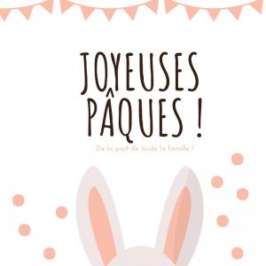Carte Joyeuses Pâques avec de belles oreilles de lapin à imprimer gratuitement pour l'envoyer à la famille et aux amis afin de leur souhaiter de passer de joyeuses Pâques. Imprimez la carte sur du papier épais et écrivez-y un joli texte avant de l'offrir.