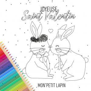 Une jolie carte lapins amoureux est gratuite, à imprimer, colorier, compléter et à offrir à sa famille et ses amis pour la Saint Valentin. Cette jolie carte sera un cadeau parfait pour la Saint valentin avec un petit poeme inscrit a l'interieur.