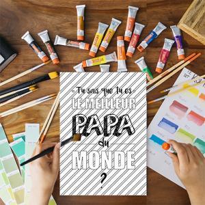 Une jolie carte gratuite à imprimer, colorier et à offrir au meilleur papa du monde pour la fete des peres. Cette jolie carte sera un cadeau parfait pour la fete des peres avec un petit poeme inscrit a l'interieur.