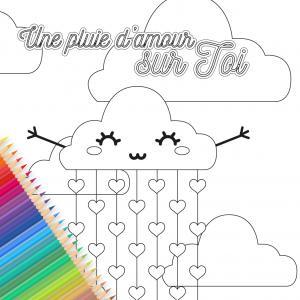 Une jolie carte pluie d'amour est gratuite, à imprimer, colorier, compléter et à offrir à sa famille et ses amis pour la Saint Valentin. Cette jolie carte sera un cadeau parfait pour la Saint valentin avec un petit poeme inscrit a l'interieur.