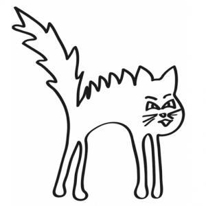 Coloriage d'un petit chat aux poils dressé ! Mais qu'est-ce qui peut faire si peur à ce chat pour que ses poils se dressent ainsi ? As-tu une idée ? Dessine ce qui lui fait si peur.