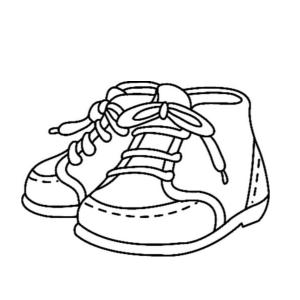 Coloriage d'une paire de chaussure : un dessin de chaussure à imprimer gratuitement.