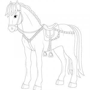 Un coloriage de cheval à télécharger et imprimer gratuitement pour tous les petits amoureux du monde équestre. Page 06