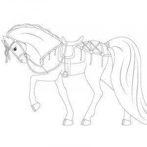 Un cheval à colorier - le mot cheval est à colorier lui aussi, une façon ludique d'associer le cheval et le mot cheval