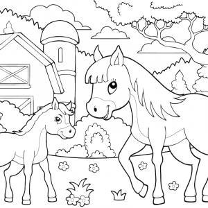 Dessin d'un cheval inspiré des chevaux de concours dont la crinière est tressée. La crinière tressée donne à ce cheval un air très graphique. Un dessin de cheval à imprimer pour le coloriage