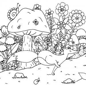 Voici un coloriage d'automne à imprimer gratuitement. Un dessin d'automne à imprimer pour tous les petits amoureux de la nature. Page 03
