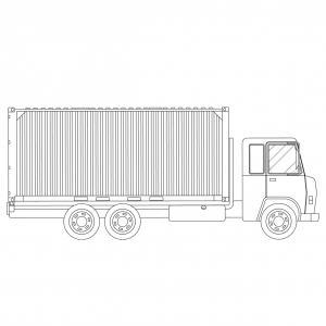 Coloriage camion : voici un dessin à imprimer avec un très beau camion. Un coloriage à imprimer sur le thème des camions et des véhicules - Page 03