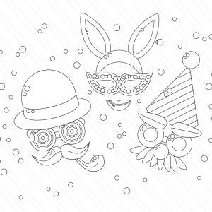 Voici le coloriage carnaval ! Un dessin à imprimer sur le thème du Carnaval et de mardi gras - Page 5