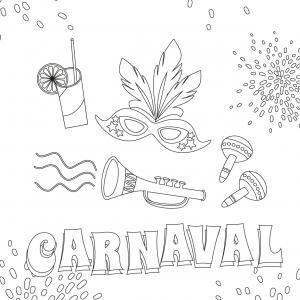 Voici le coloriage carnaval ! Un dessin à imprimer sur le thème du Carnaval et de mardi gras - Page 7