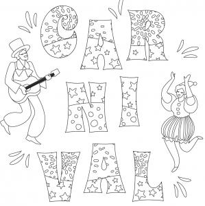 Voici le coloriage carnaval ! Un dessin à imprimer sur le thème du Carnaval et de mardi gras - Page 8