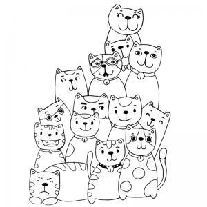 Voici un coloriage chat à imprimer gratuitement. Un dessin de chat à imprimer pour tous les petits amoureux des animaux. Page 8