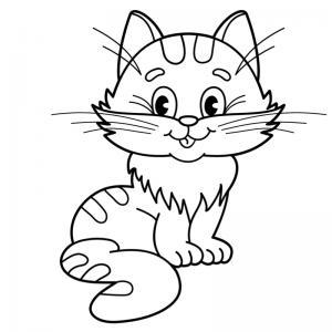 Voici un coloriage chat à imprimer gratuitement. Un dessin de chat à imprimer pour tous les petits amoureux des animaux. Page 1