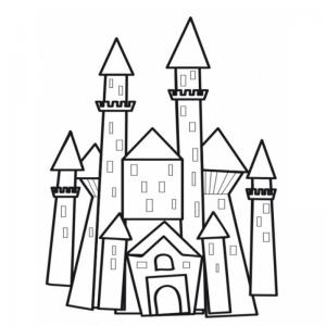 Coloriage châteaux de prince et princesse