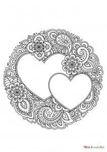 Coloriage d'un coeur au bouquet de grosses fleurs. Coloriage d'un gros coeur décoré d'un bouquet de grosses fleurs, un coloriage à faire pour le plaisir ou pour l'offrir à l'occasion d'une fà&trad