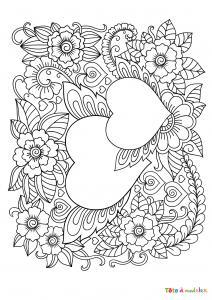 Coloriage d'un coeur à la branche à décorer. Coloriage d'un coeur décoré d'une branche à compléter par un dessin de votre enfant - dessin de coeur décoré N&