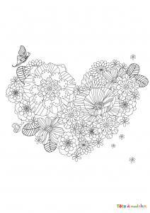 Coloriage d'un coeur à la branche à décorer. Coloriage d'un coeur décoré dessin 4 - le coeur est décoré d'une fleur et d'un papillon