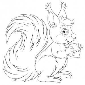 Voici un coloriage écureuil à imprimer gratuitement. Un dessin d'écureuil à imprimer pour tous les petits amoureux des animaux de la forêt. Page 07