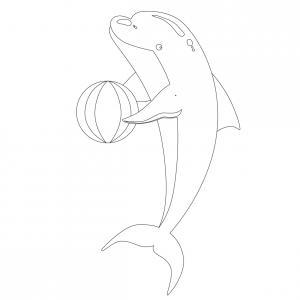 Coloriage dauphin : voici un dessin à imprimer avec un superbe dauphin. Un coloriage à imprimer sur le thème des dauphins et des animaux marins - Page 01