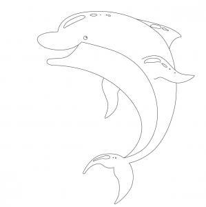 Coloriage dauphin : voici un dessin à imprimer avec un superbe dauphin. Un coloriage à imprimer sur le thème des dauphins et des animaux marins - Page 02