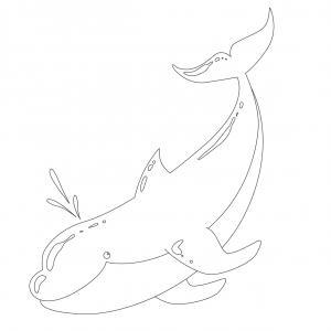 Coloriage dauphin : voici un dessin à imprimer avec un superbe dauphin. Un coloriage à imprimer sur le thème des dauphins et des animaux marins - Page 05