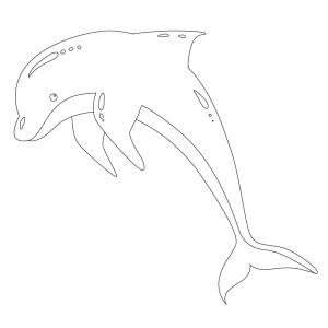 Coloriage dauphin : voici un dessin à imprimer avec un superbe dauphin. Un coloriage à imprimer sur le thème des dauphins et des animaux marins - Page 06