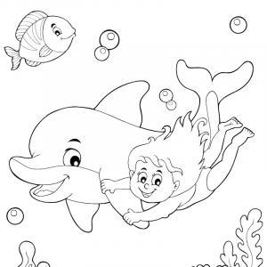 Coloriage dauphin : voici un dessin à imprimer avec un superbe dauphin. Un coloriage à imprimer sur le thème des dauphins et des animaux marins - Page 07