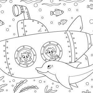 Coloriage dauphin : voici un dessin à imprimer avec un superbe dauphin. Un coloriage à imprimer sur le thème des dauphins et des animaux marins - Page 09