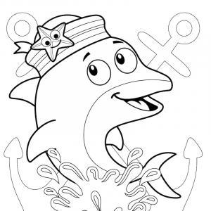 Coloriage dauphin : voici un dessin à imprimer avec un superbe dauphin. Un coloriage à imprimer sur le thème des dauphins et des animaux marins - Page 10