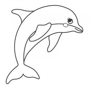 Coloriage dauphin : voici un dessin à imprimer avec un superbe dauphin. Un coloriage à imprimer sur le thème des dauphins et des animaux marins - Page 13