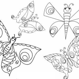 Coloriage de l'envole de 4 papillons dans le ciel. Tous les papillons sont différents les uns des autres.