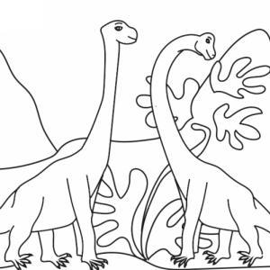 Coloriage de deux dinosaures vivant au temps du jurassique : sur ce coloriage votre enfant pourra colorier le dessin de deux brachiosaures, des dinosaures qui vivaient à l'époque du jurassique. Les deux dinosaures sont au milieu de plantes basses au pie
