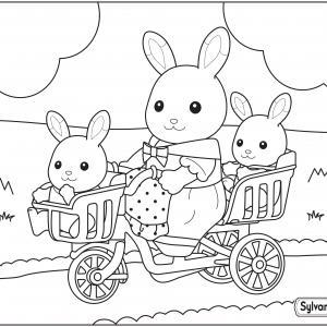 Un dessin à imprimer de maman lapin et ses petits à bicyclette