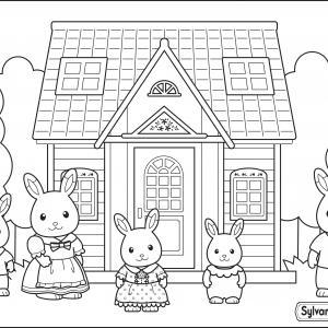 Un dessin à imprimer de la nouvelle maison de la famille lapin chocolat