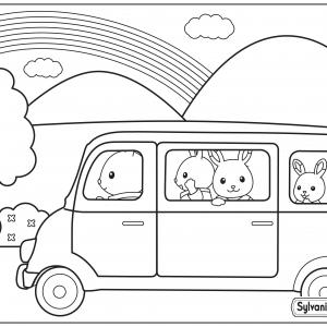 Un dessin à imprimer de la famille lapin qui part en vacances