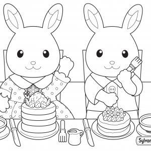 Un dessin à imprimer de maman et papa lapin qui préparent le petit déjeuner