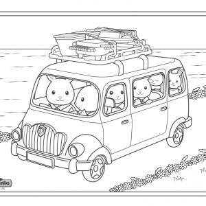 Un dessin à imprimer de la famille lapin arrivant sur son lieu de vacances