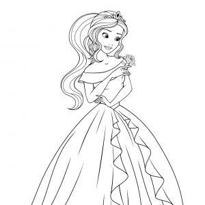 Coloriage de la princesse avec une robe de bal au gros noeud