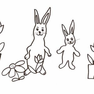 Coloriage lapin : dessin de ronde de lapins et de fleurs en pots. Dessin très simple de 2 lapins dans leur jardin