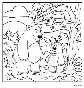 Coloriage de maman ourse et son petit ourson