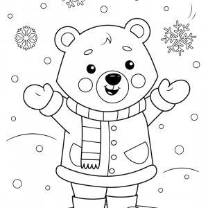 Coloriage de petit ours et les cadeaux