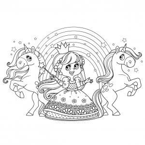 Coloriage de la princesse #01 : un dessin d'une princesse à imprimer pour le coloriage des filles. Un coloriage Tête à modeler