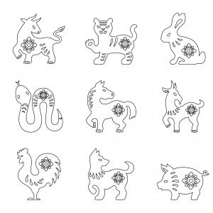 Imprimer le coloriage des animaux du zodiaque chinois. Imprimez cette fiche pour le Nouvel an chinois