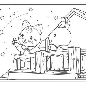 Un dessin à imprimer de la fille lapin et la fille chat sous les étoiles