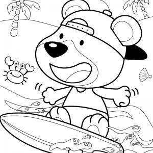 Voici un coloriage d'été sur le thème des vacances avec un petit chien surfant sur des vagues. Un dessin à imprimer pour les amoureux de la saison estivale.