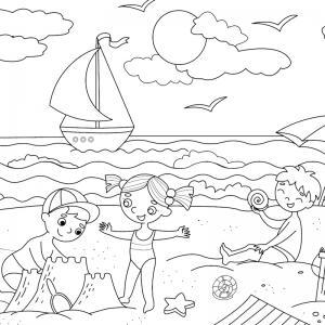 Voici un coloriage d'été sur le thème des vacances avec des enfants jouant à la plage. Un dessin à imprimer pour les amoureux de la saison estivale.