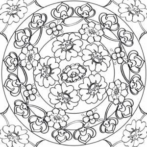 Dessin d'un mandala encadré à imprimer pour le coloriage de détente des adultes et des plus grands. Retrouvez le plaisir du coloriage et du laché prise en mettant un couleur cette composition de fleurs et de feuilles stylisées